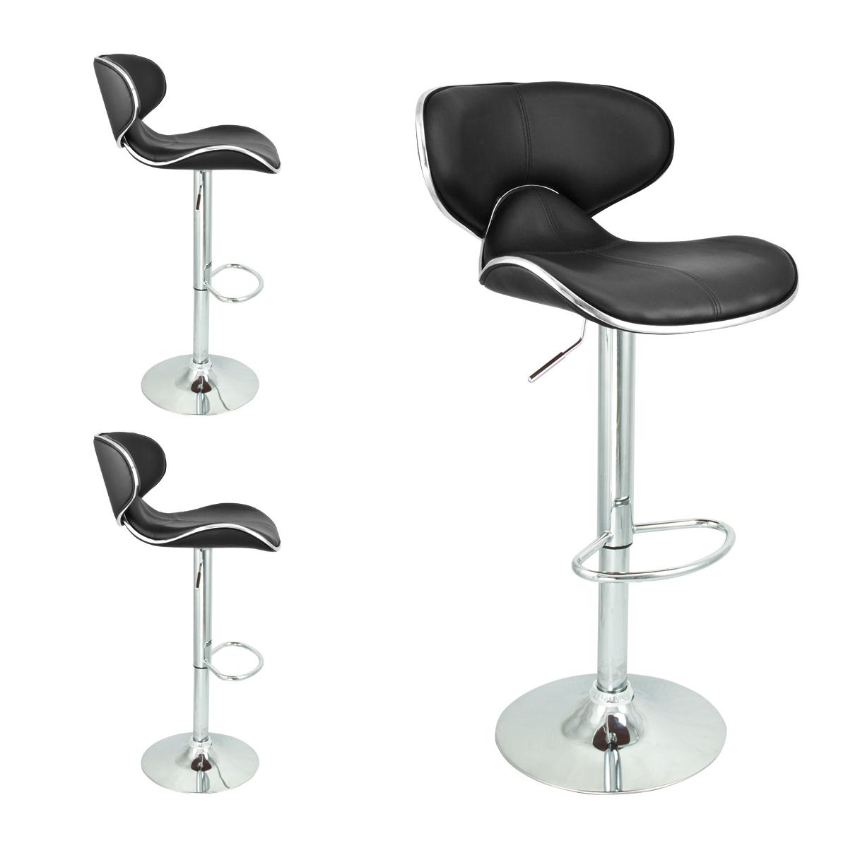 Elegant Kitchen Bar Stools: Modern Black Barstool 2 Swivel Elegant PU Leather