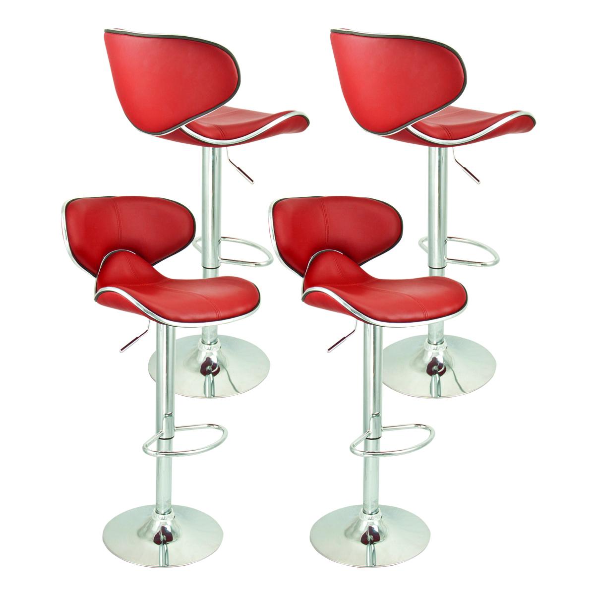 4 Swivel Red Bar Stool Elegant PU Leather Modern  : 37851ah from ebay.com size 1200 x 1200 jpeg 468kB