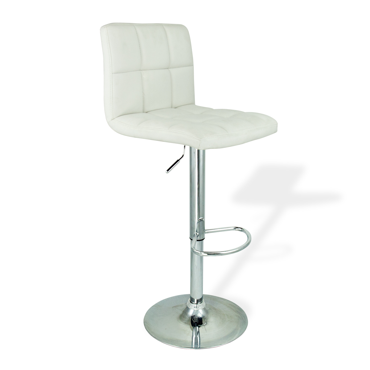 Bar Stools Leather Set Of 2 White Swivel Bar Pub Barstools Modern Design New Ebay