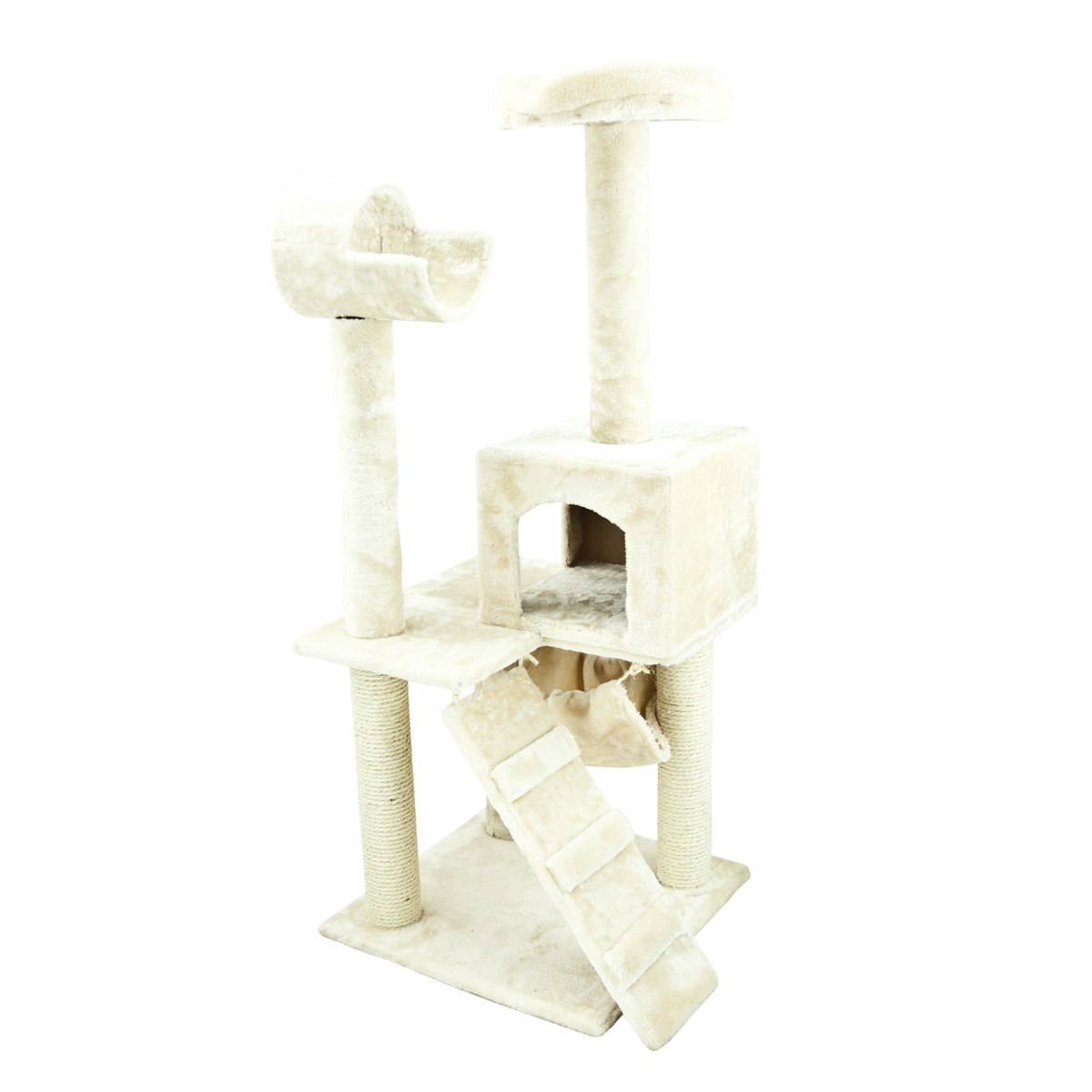 Feline deluxe condo scratcher furniture house hammock bed for Cat tower with hammock