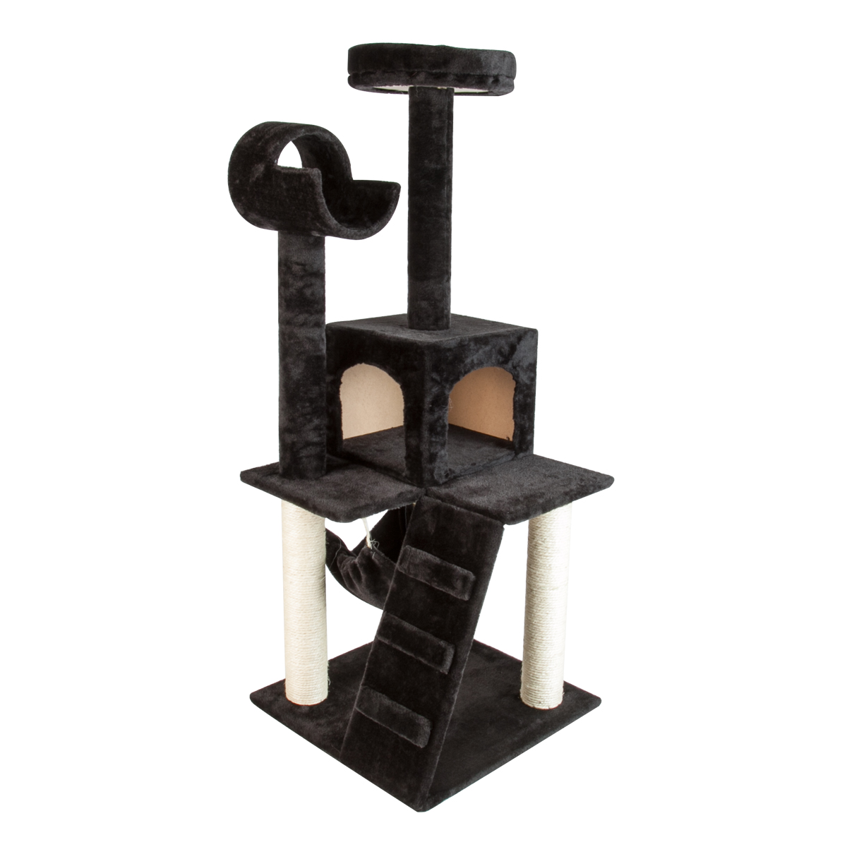 Brand new 51 black cat tower tree deluxe scratcher for Cat tower with hammock