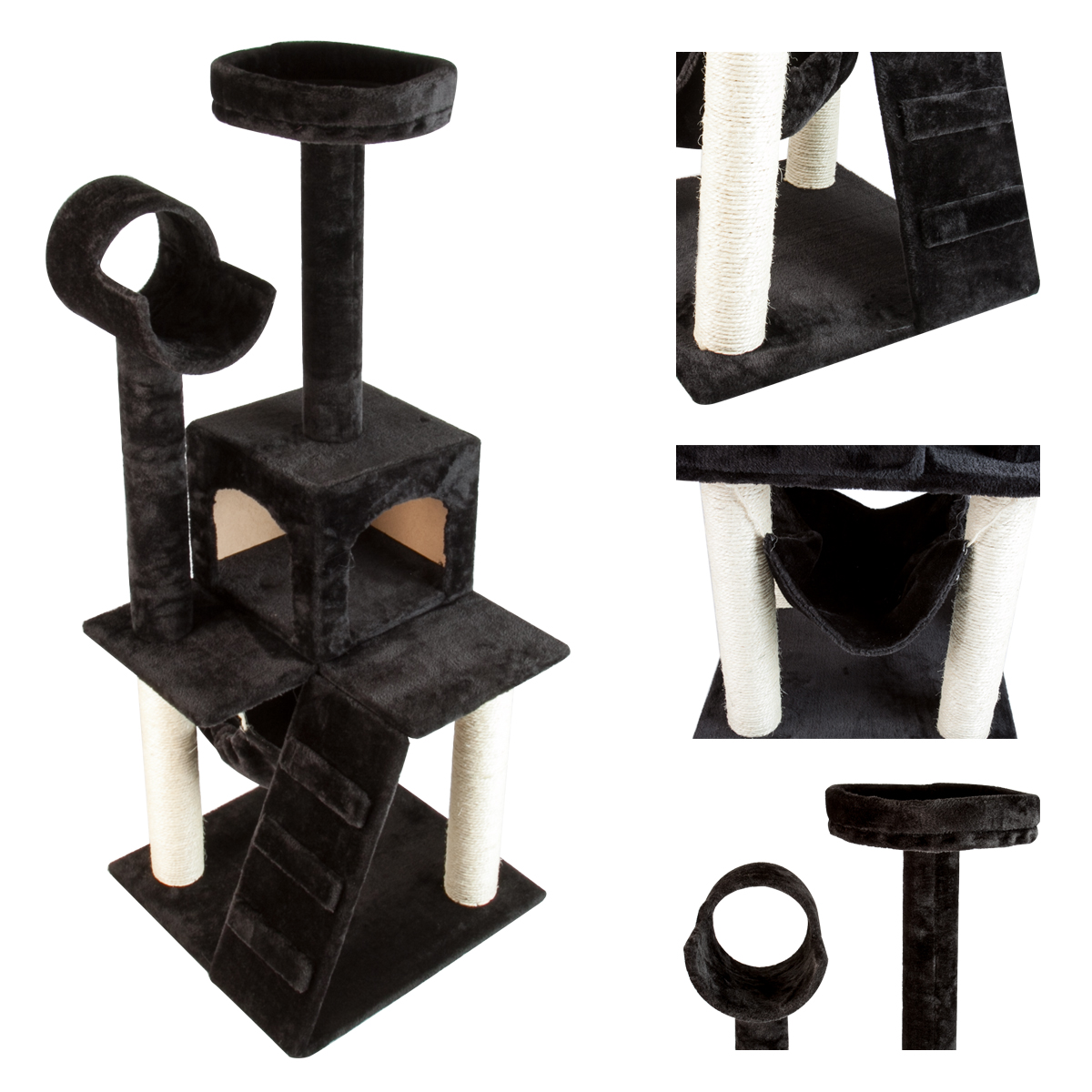 Deluxe new 50 cat tower tree condo scratcher furniture for Cat tower with hammock