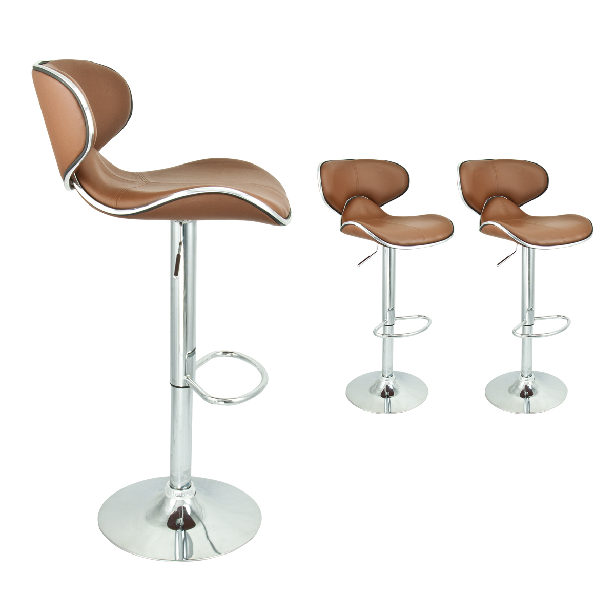 2 Mocha Modern Adjustable Barstool Swivel Elegant Pu