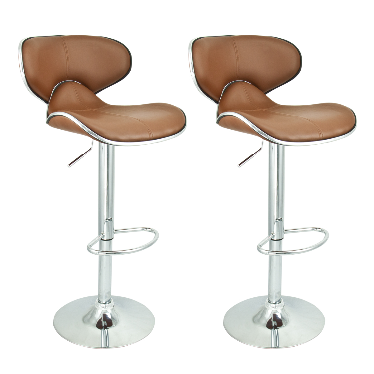 2 Modern Barstool Swivel Leather Adjustable Hydraulic