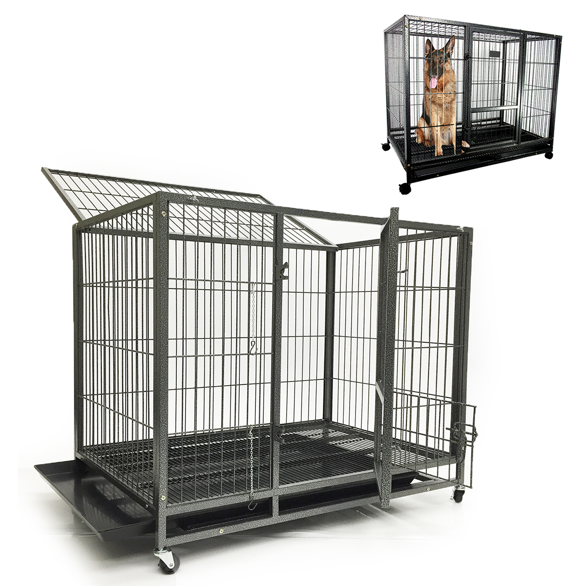 Portable Dog Run : Quot large dog kennel w wheels portable pet puppy carrier