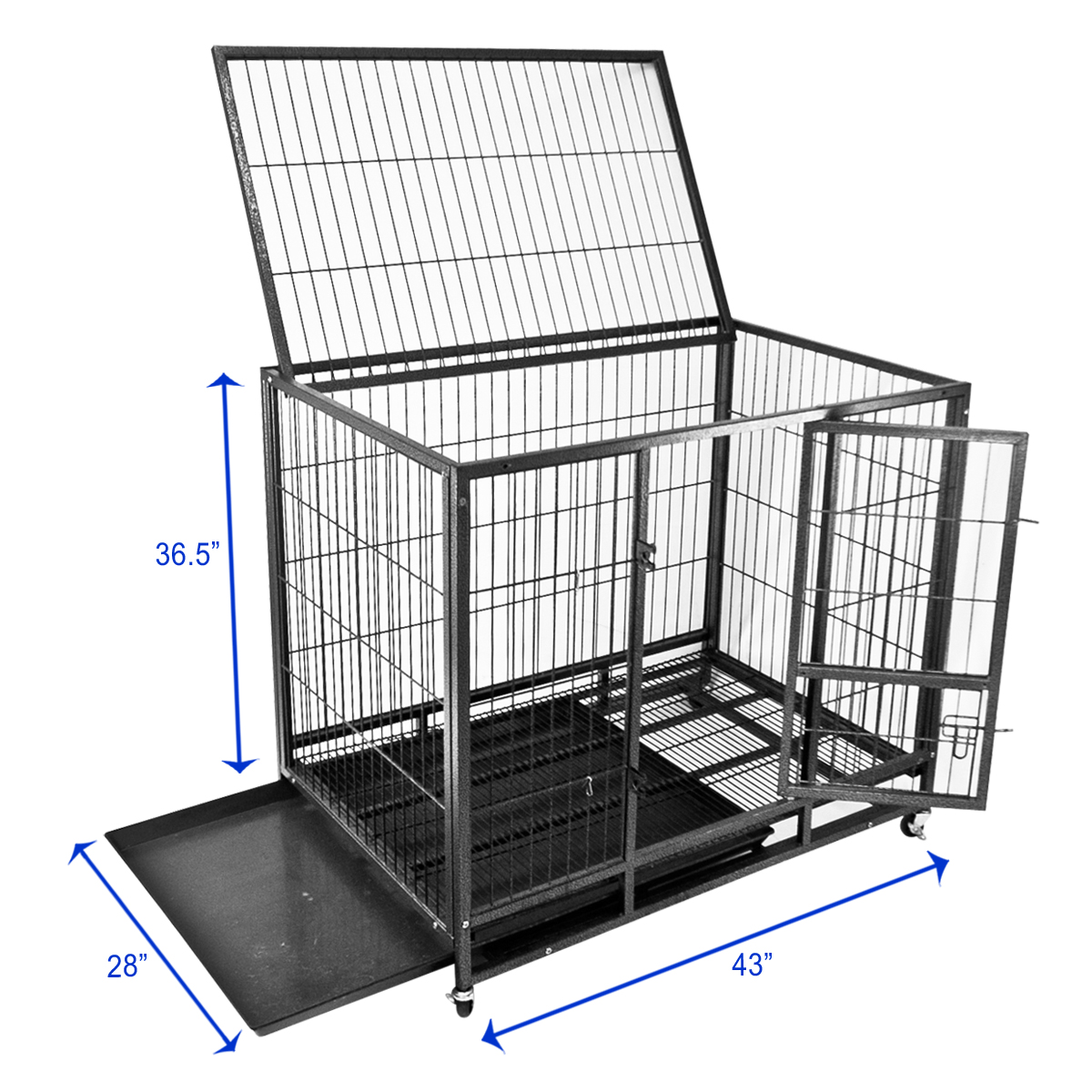 Portable Dog Kennels : Quot dog kennel w wheels portable pet puppy carrier crate