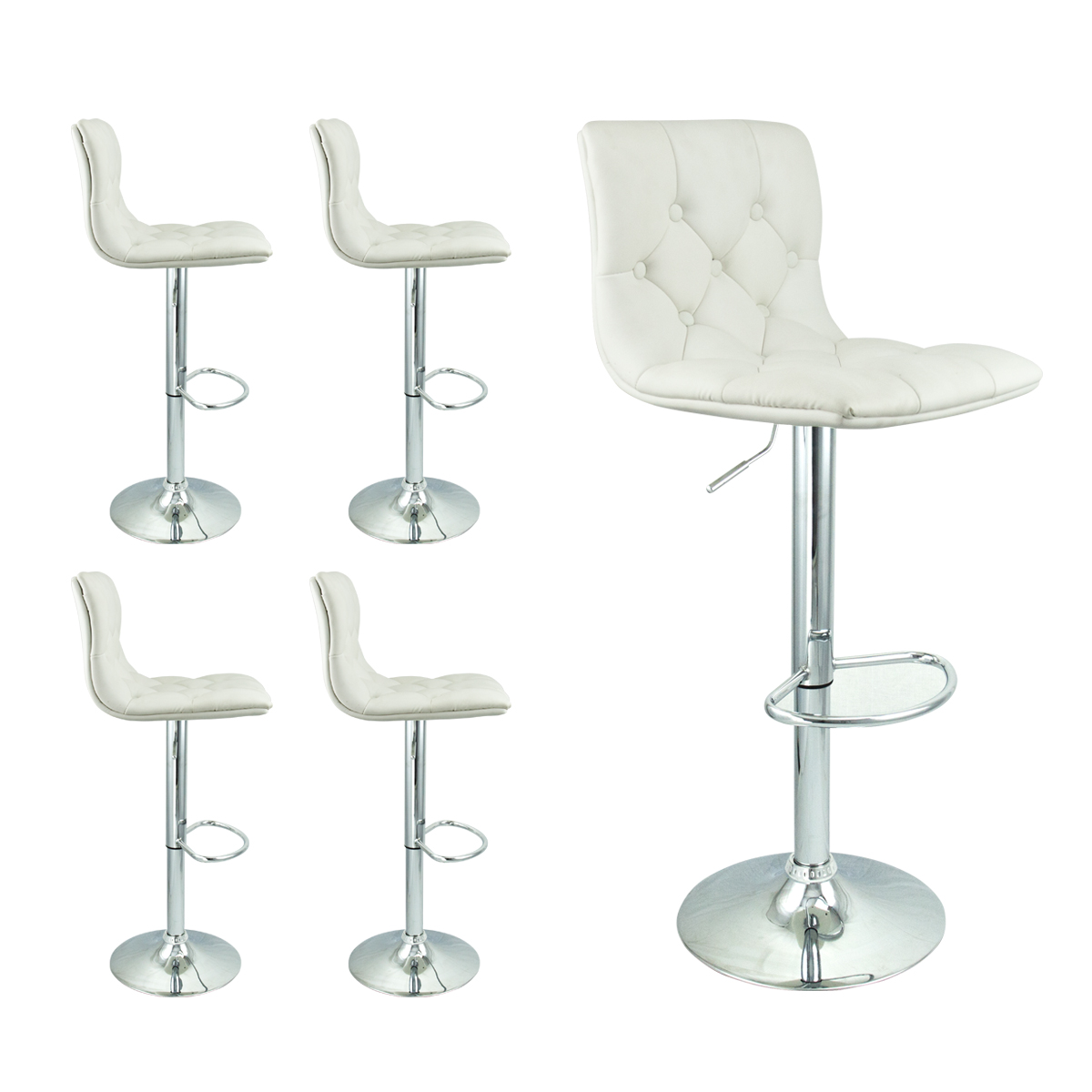 4 barstools swivel seat white pu leather modern adjustable