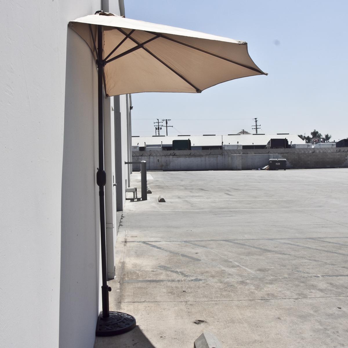 10u0027 FT Half Umbrella Feet Beige Outdoor Patio Wall Balcony Sun Shade NEW