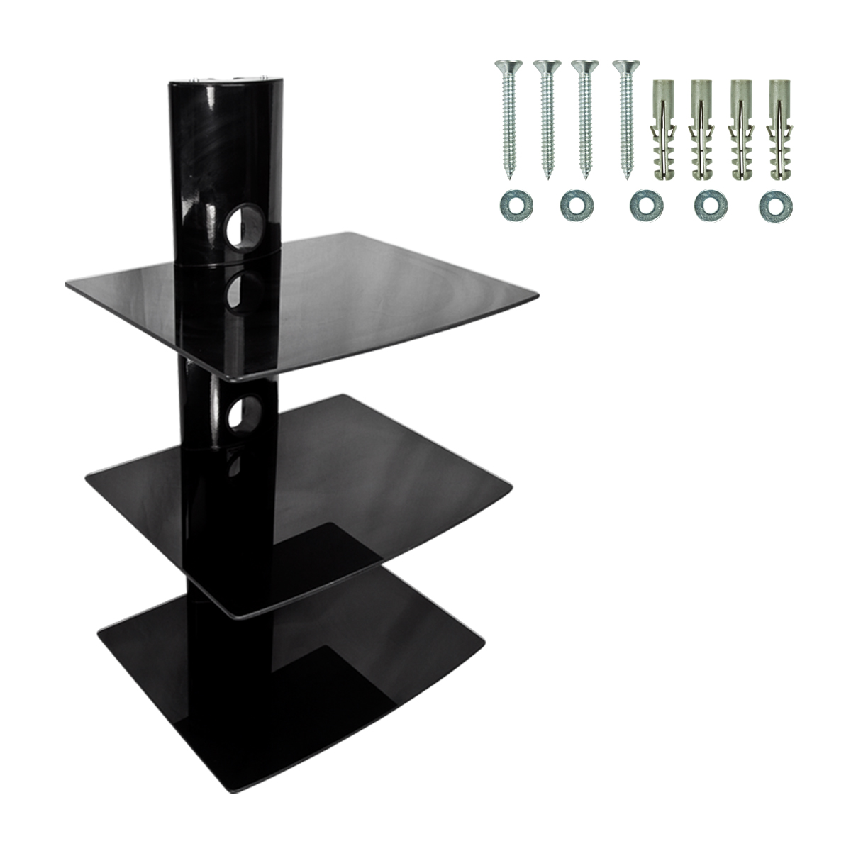 dvd player cable box wall mount shelf stand direct tv glass receiver hd 3 tier ebay. Black Bedroom Furniture Sets. Home Design Ideas