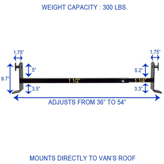 60 Quot Universal Roof Ladder Rack Mount Gutterless Van Cross