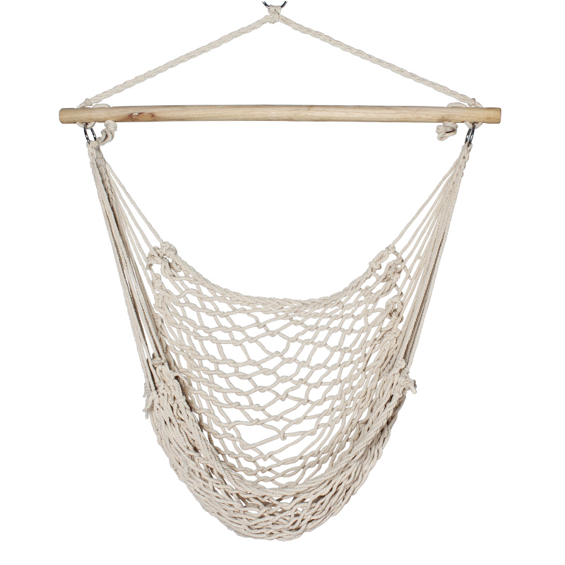 New Porch Beige Cotton Swing Rope Hammock Patio Garden Air Chair 200lb ...