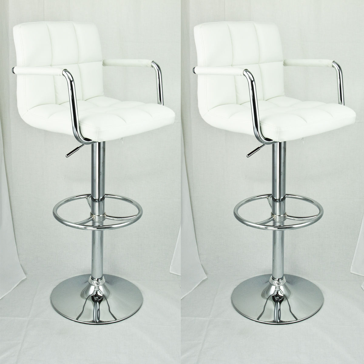 2 Set Swivel Barstools White Arm Leather Modern Adjustable