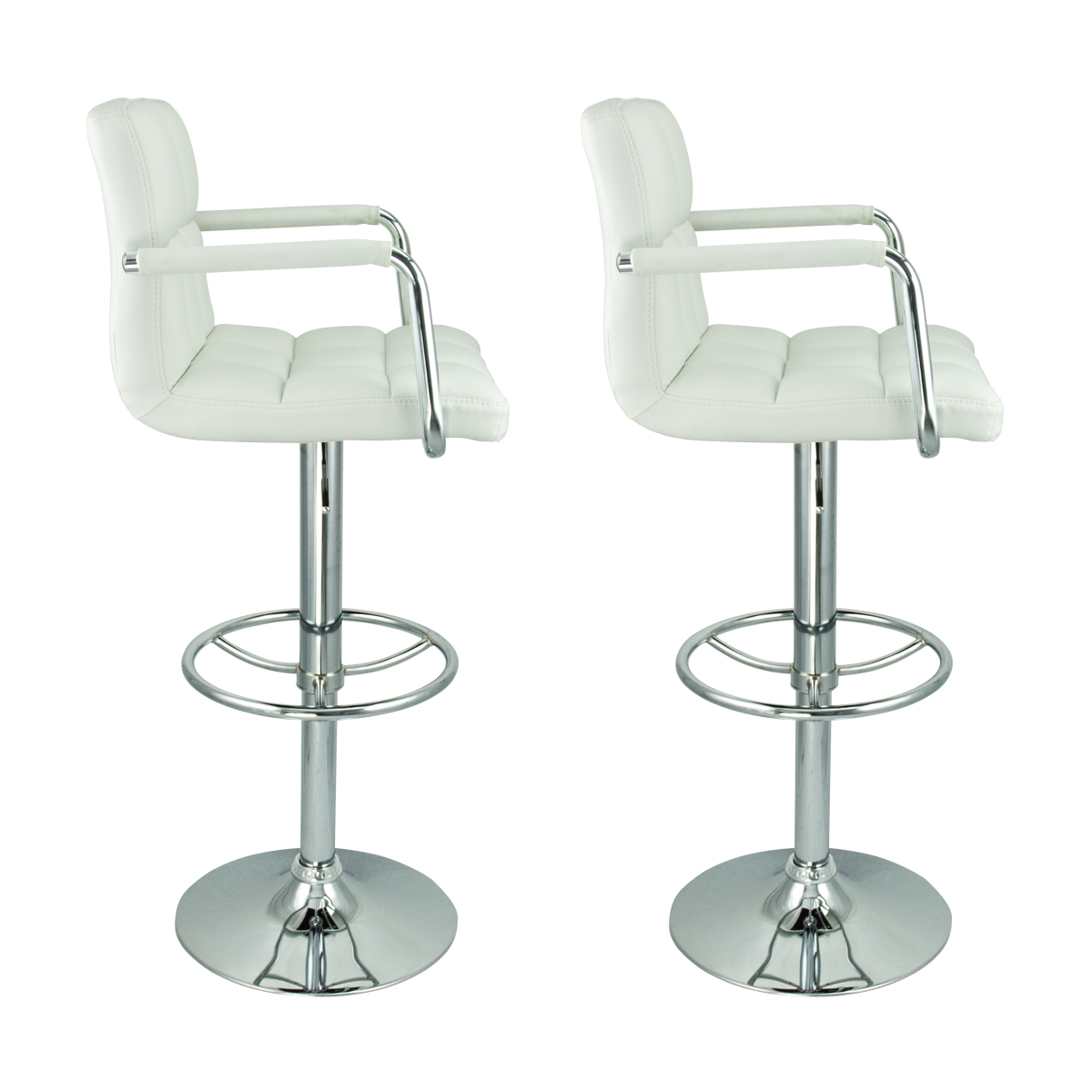 2 Swivel White W Arm Pu Leather Modern Adjustable