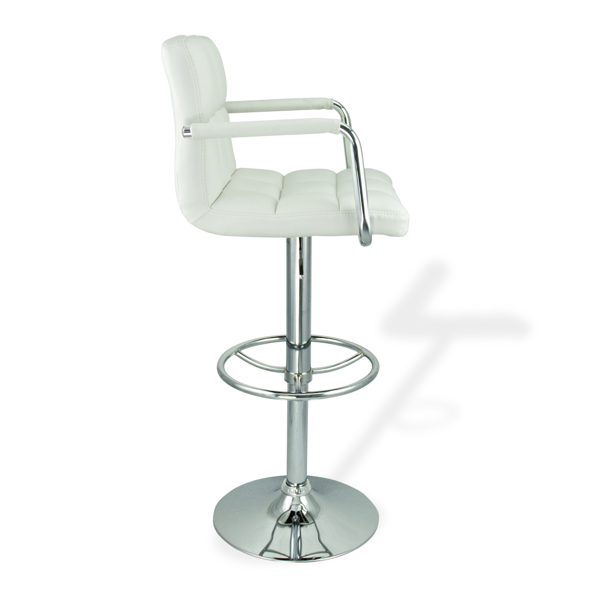 2 White W Arm Swivel Bar Stool Pu Leather Modern
