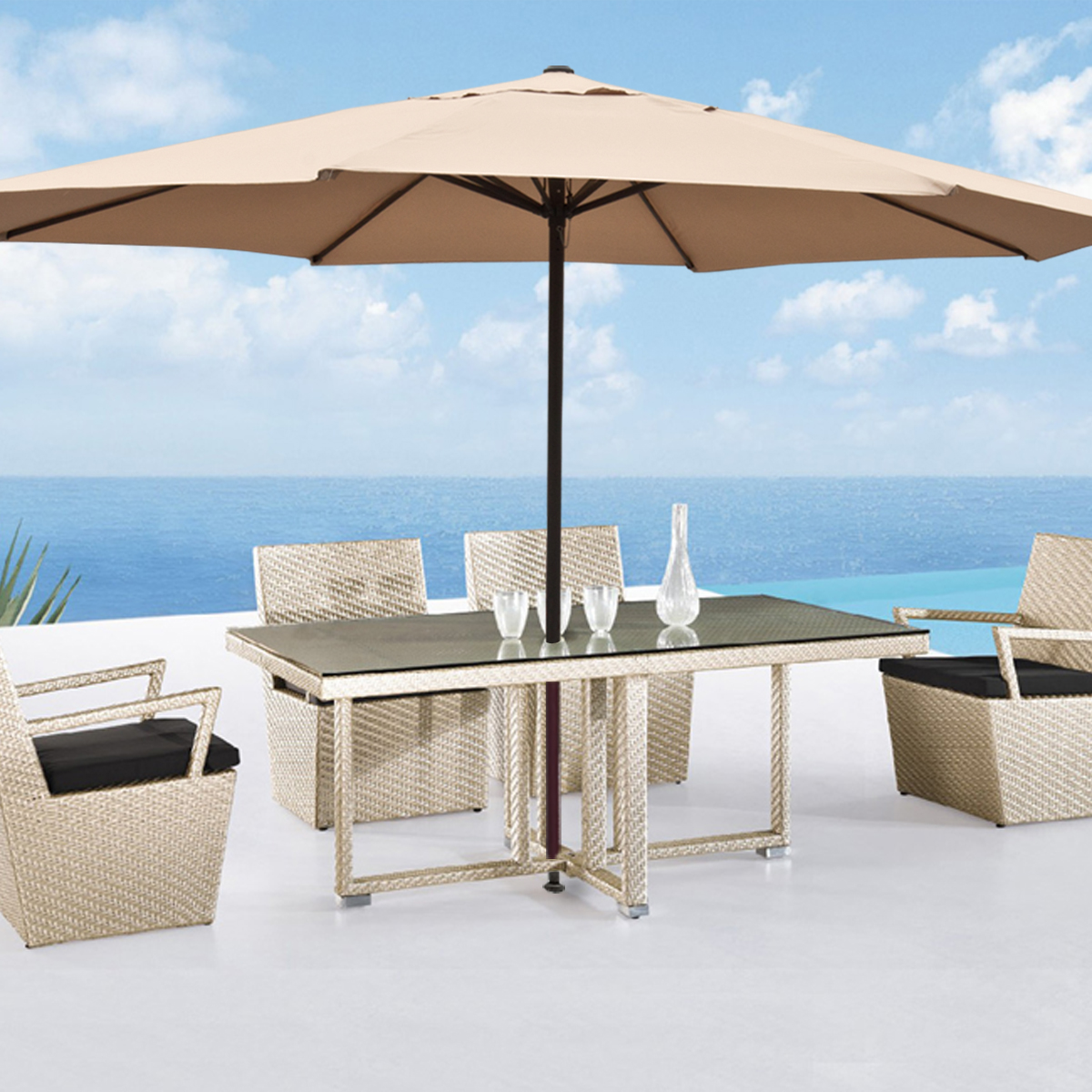 Large patio umbrella 13 39 ft feet beige tent deck gazebo sun shade cover market ebay - Shade canopy for deck ...