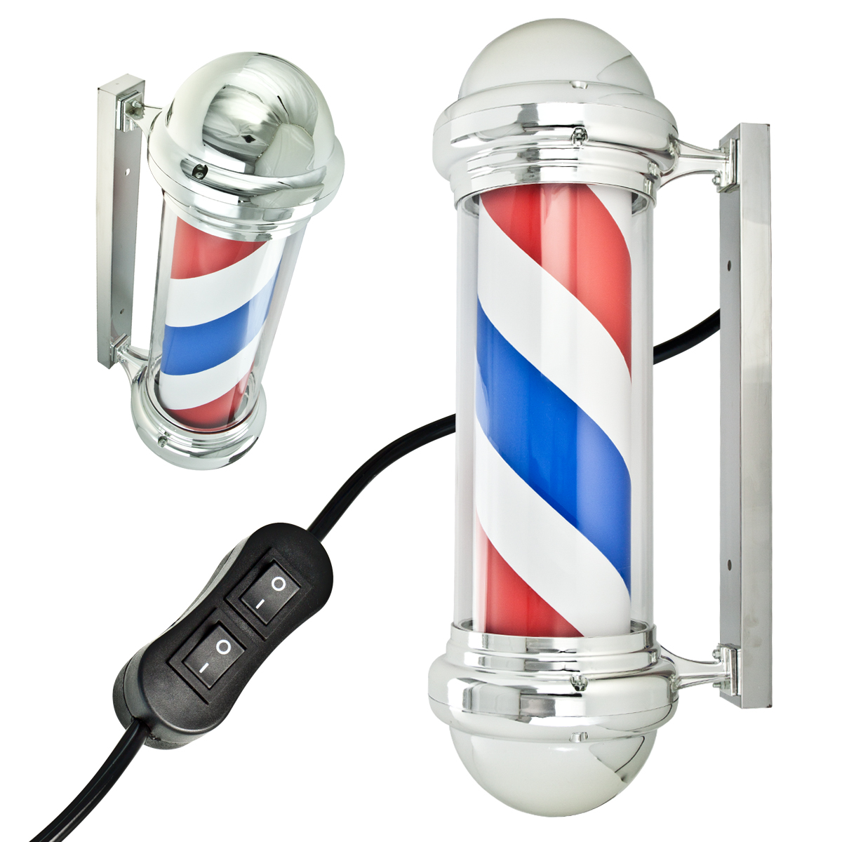 30 barber pole light rotating red white blue stripes metal. Black Bedroom Furniture Sets. Home Design Ideas