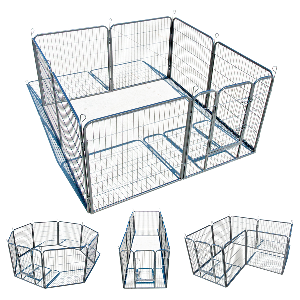 32 8 Panel Dog Cat Barrier Fence Metal Playpen Kennel Cage Pet Outdoor