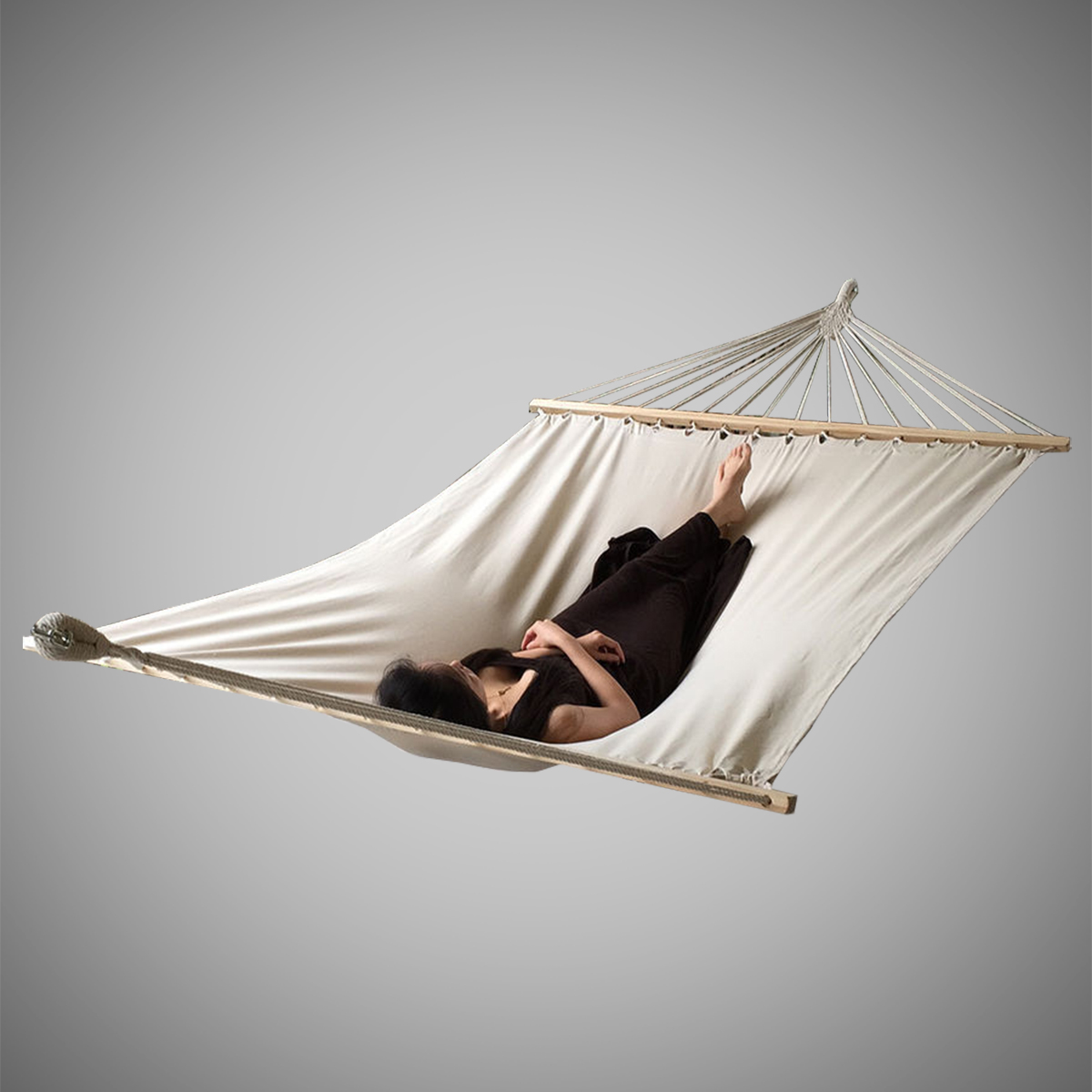 Double hammock tree 2 people person patio bed swing new for Net hammock bed