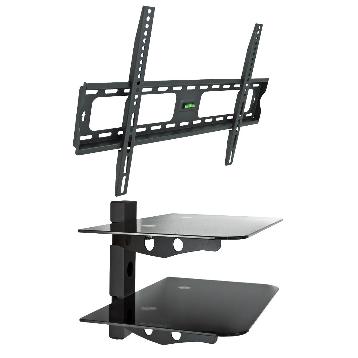 2 tier wall stand component shelf dvd 30 60 flat tv. Black Bedroom Furniture Sets. Home Design Ideas