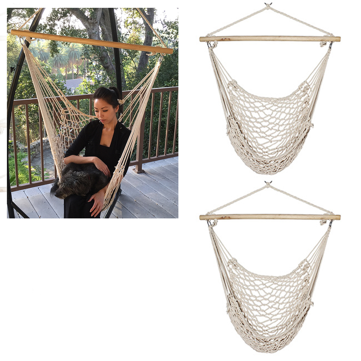 Air chair 200lb cap new 2pc porch cotton swing rope for Rope hammock plans
