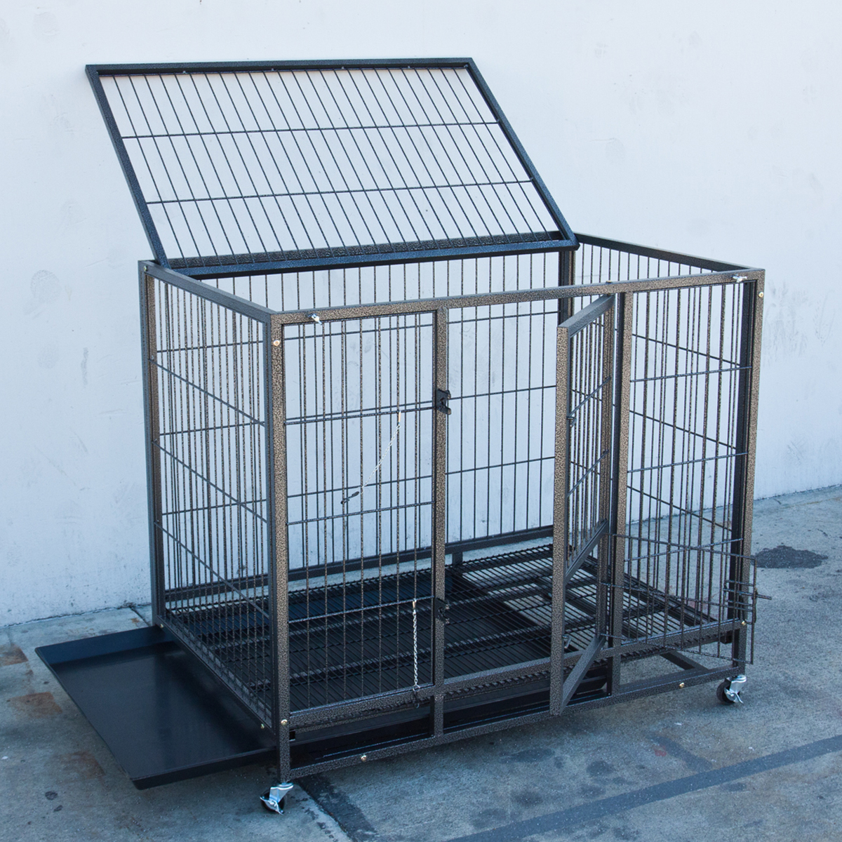 Portable Dog Kennels : Quot heavy duty metal dog cage kennel wheels portable pet