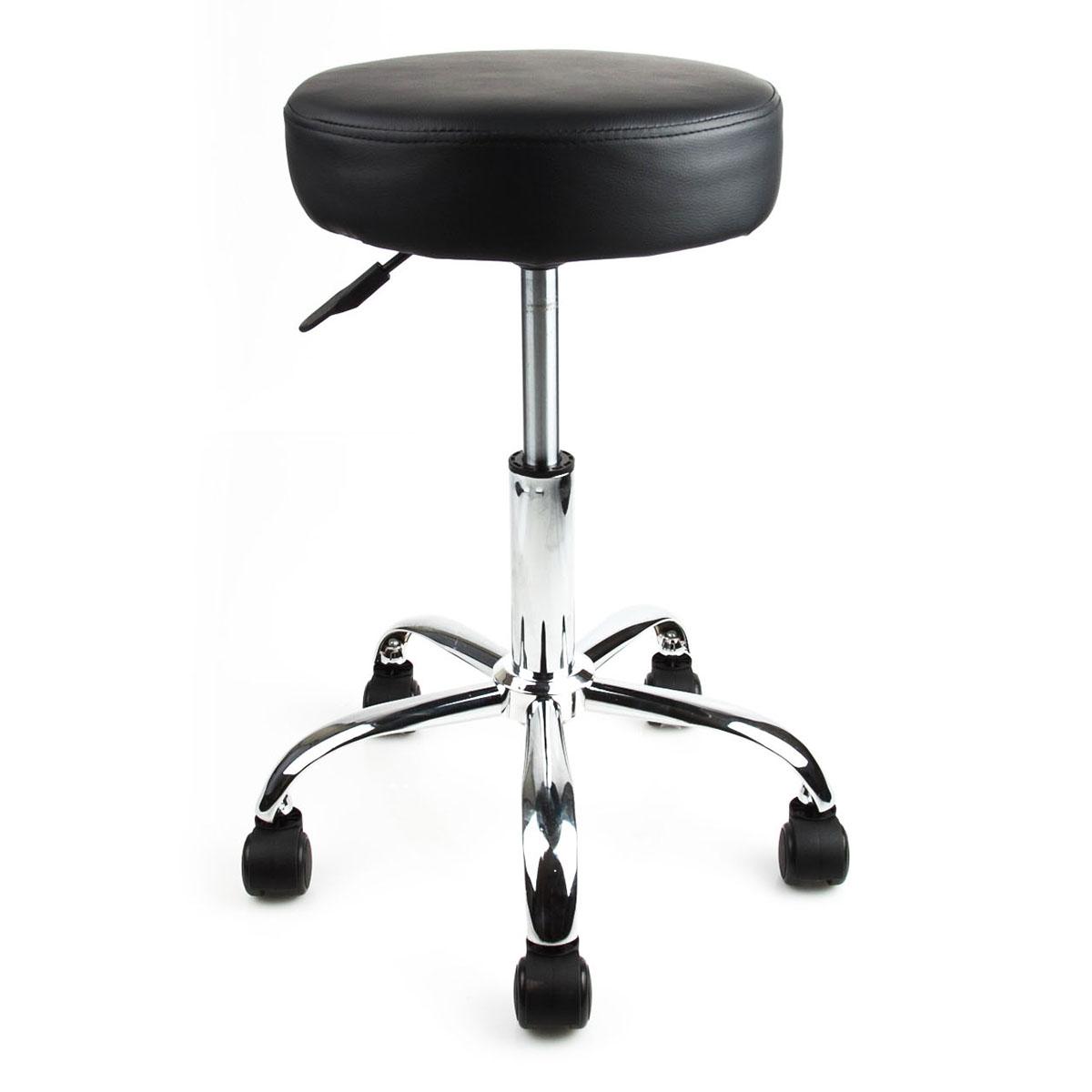 Black Rubber Wheel Beauty Salon Spa Tattoo Stool Equipment