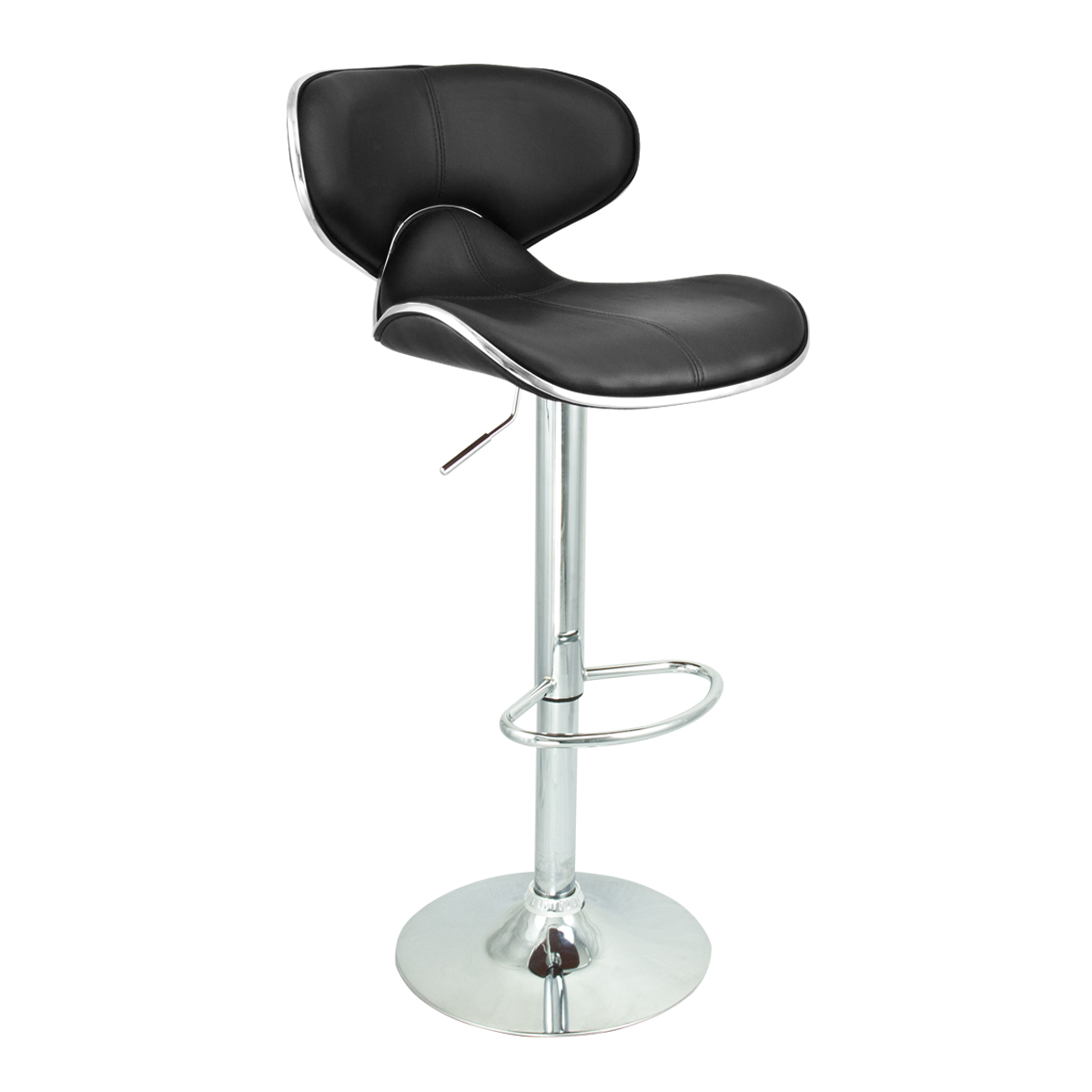 Modern Black Barstool 6 Swivel Elegant PU Leather Adjustable Hydraulic Bar St