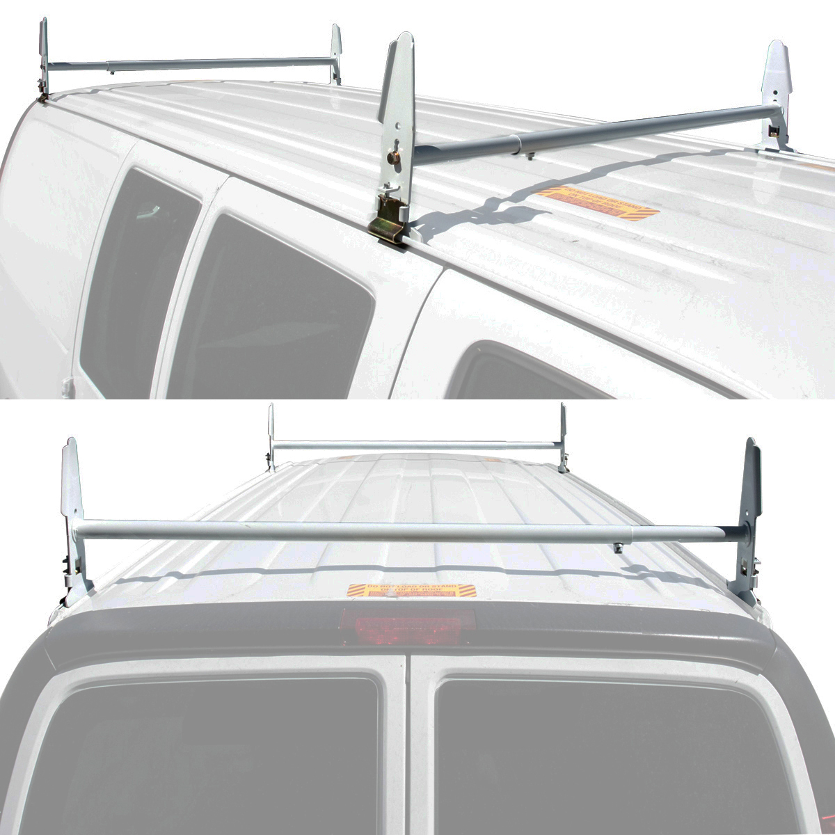 Van Ladder Rack Roof 500 Lb 2 Bars Contractor Chevy Dodge Ford Gmc Gm Express Ebay