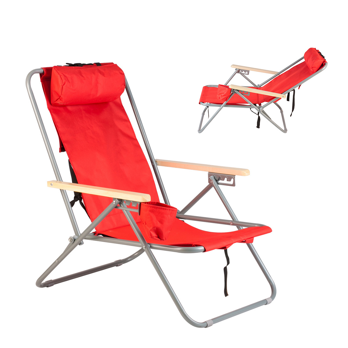 Backpack Beach Chair Folding Portable Chair Red Solid Construction Camping Ne
