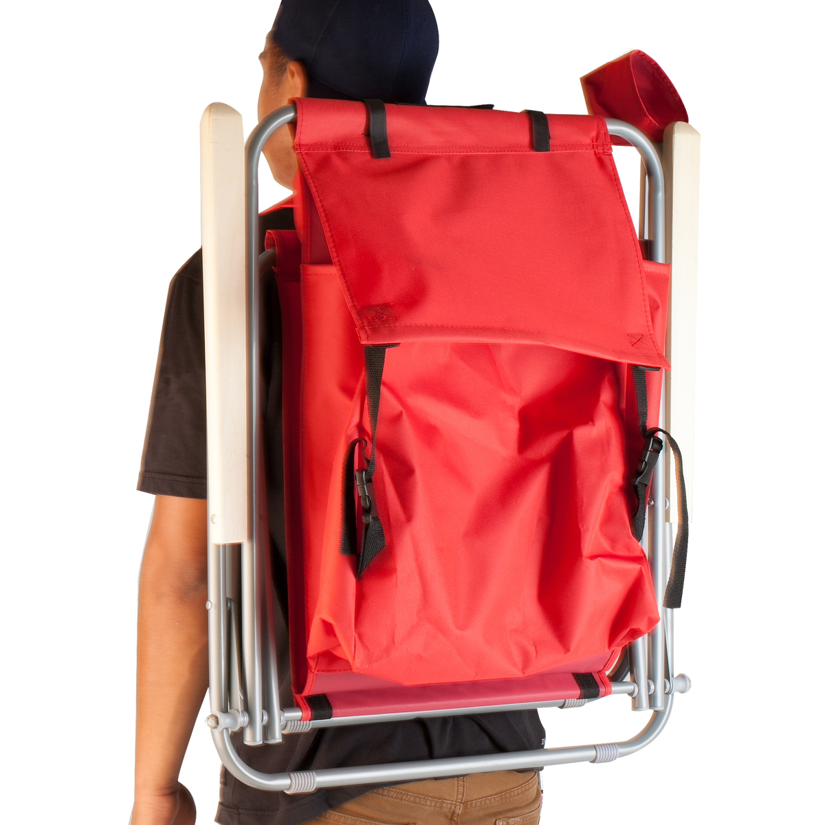 Portable Chair Backpack Beach Chair Folding Red Solid Construction Camping Ne