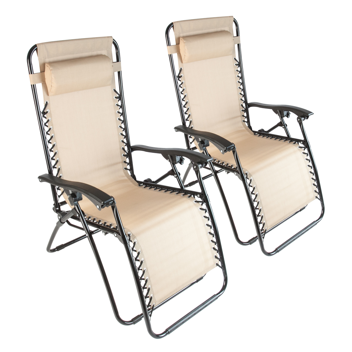 2 Beach Zero Gravity Folding Lounge Chairs Recliner Patio Pool Beige Outdoor New