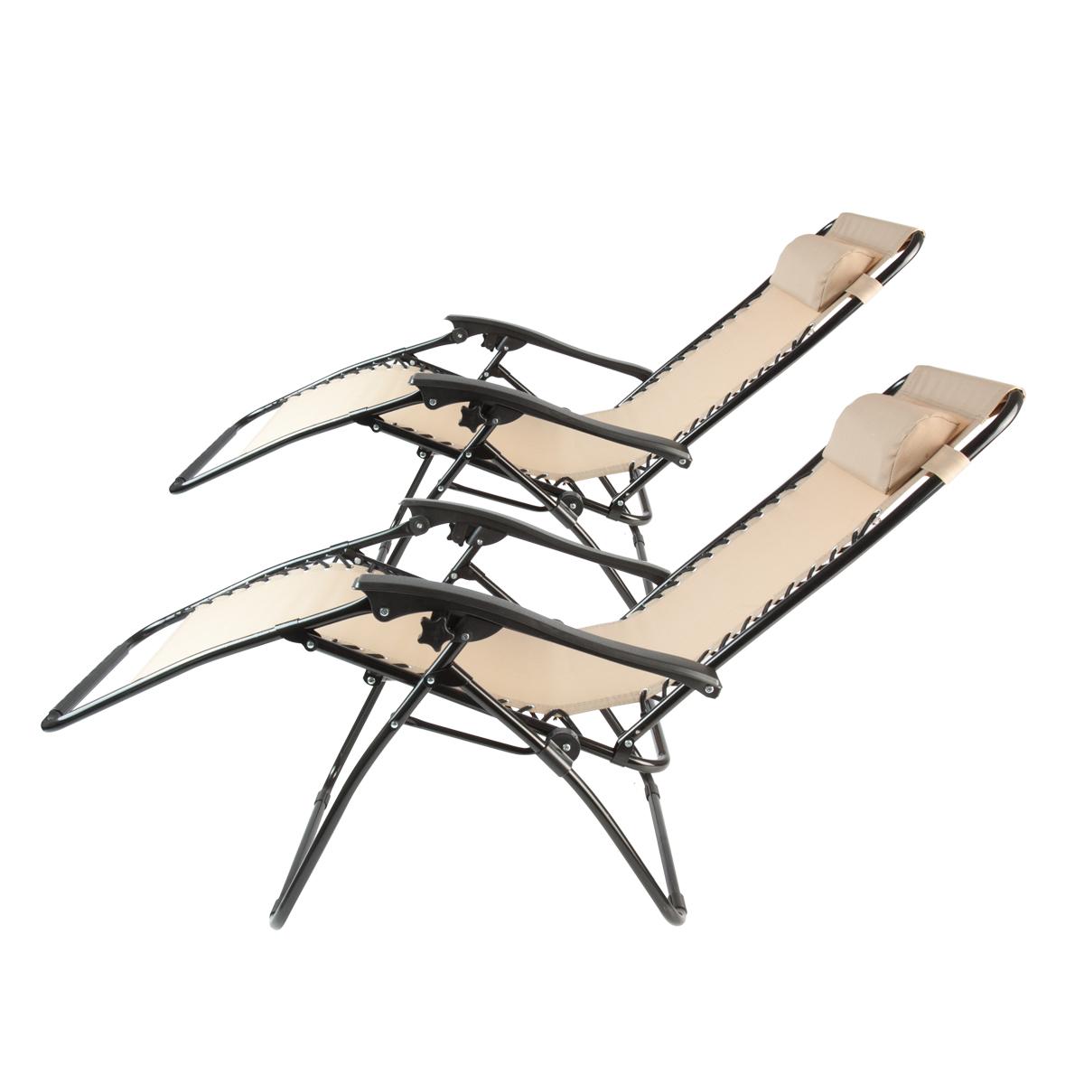 2 Beige Zero Gravity Folding Lounge Chairs Recliner Outdoor Beach Patio Pool New