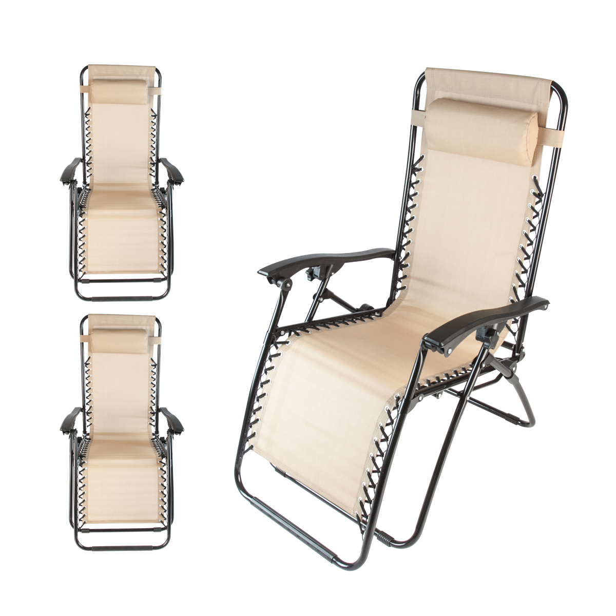 2 Zero Gravity Folding Lounge Chairs Recliner Outdoor Pool