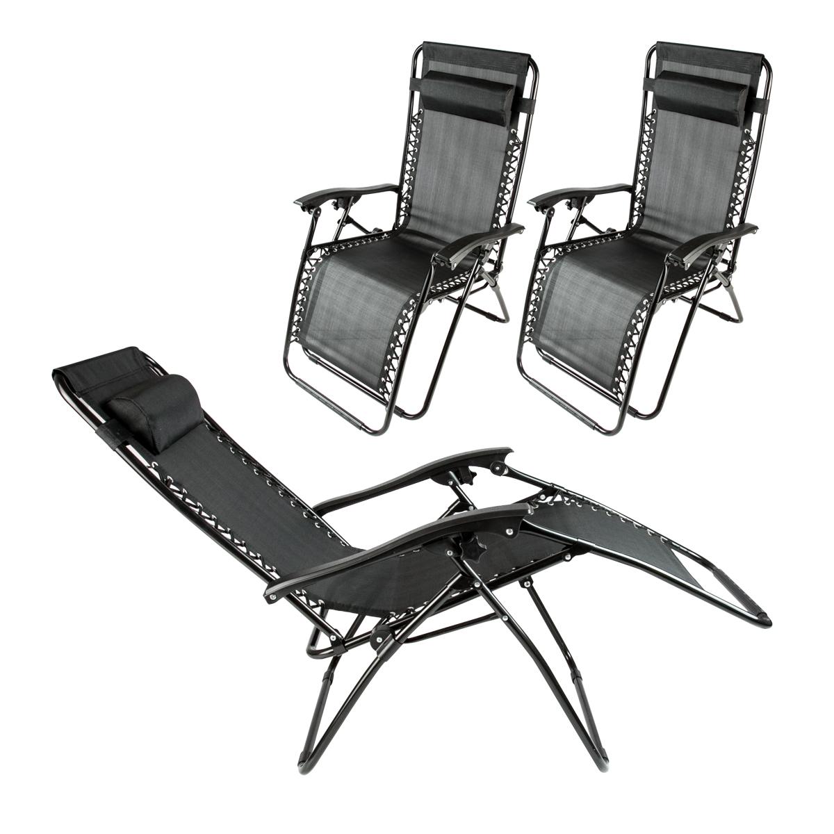 2 Lounge Chairs Zero Gravity Folding Recliner Outdoor Beach Black Patio Pool New