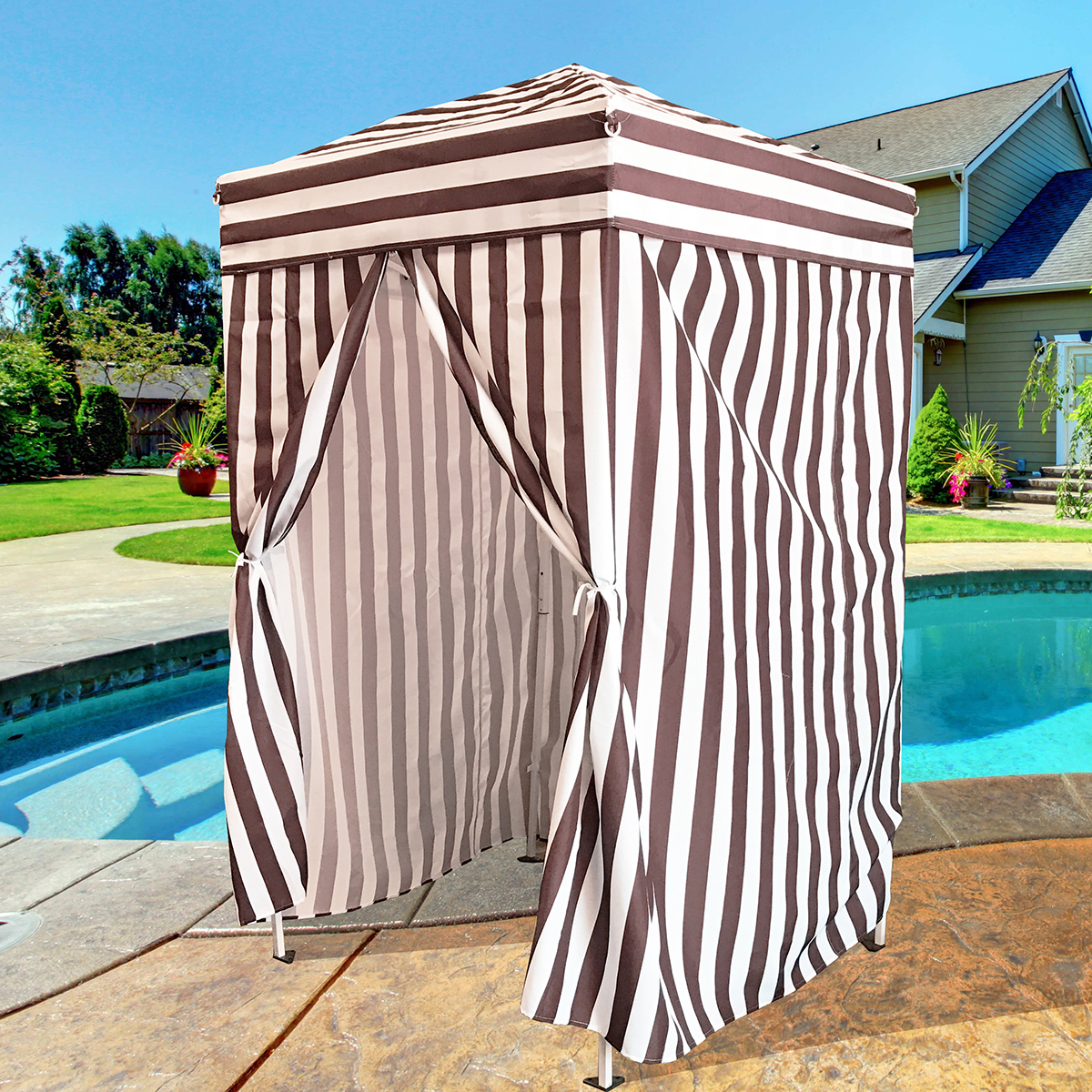 Outdoor Changing Cabana : Changing shower cabana stripe beach privacy tent pool