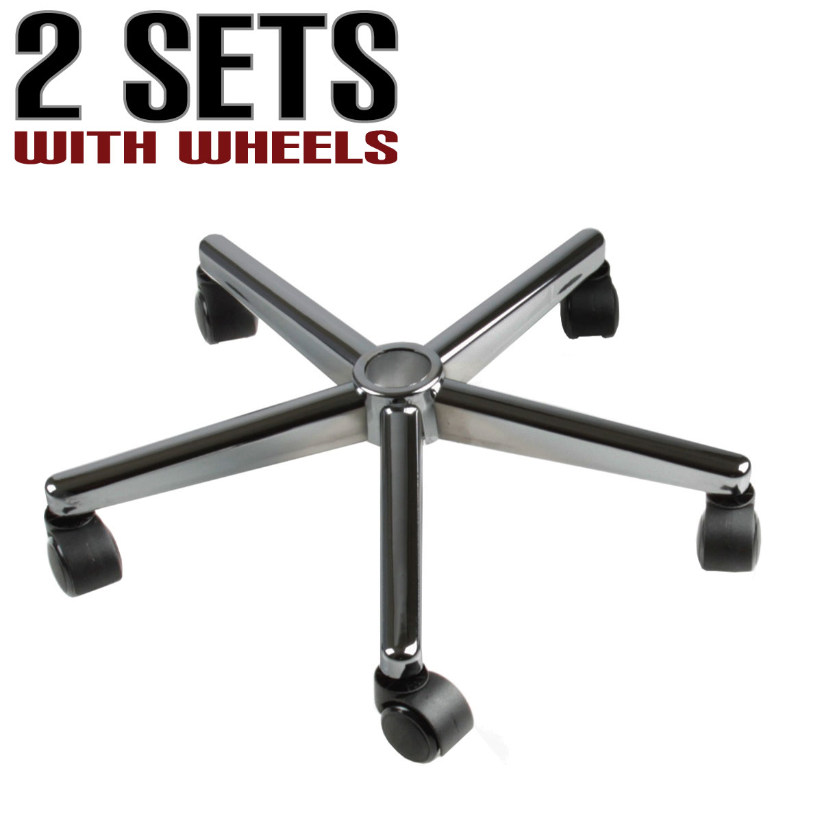 Chair Replacement Star Base 5 Black Rubber Wheel Casters Set 2 Furniture Office