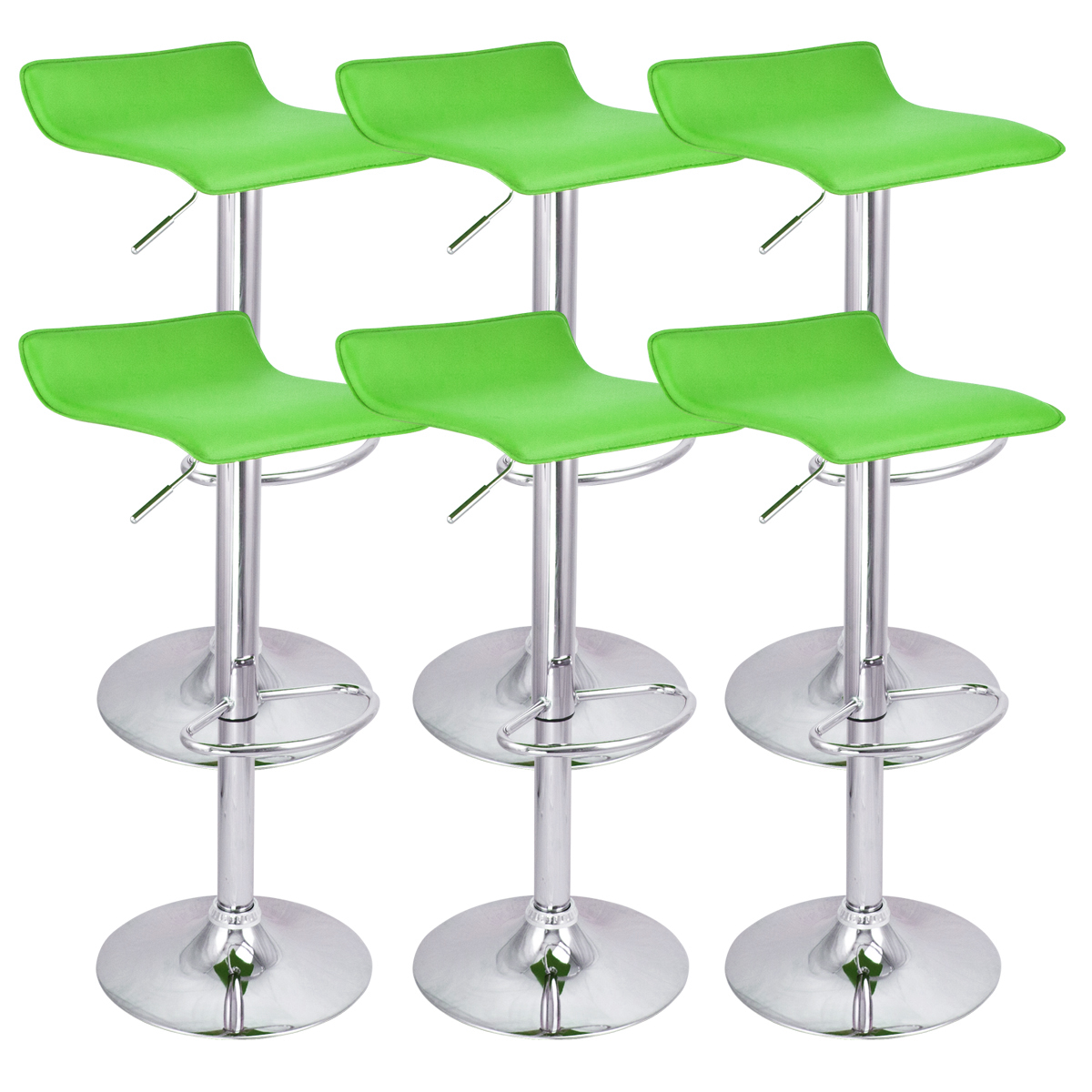 6 New Swivel Modern Bar Stool Green Bombo Chair Pub