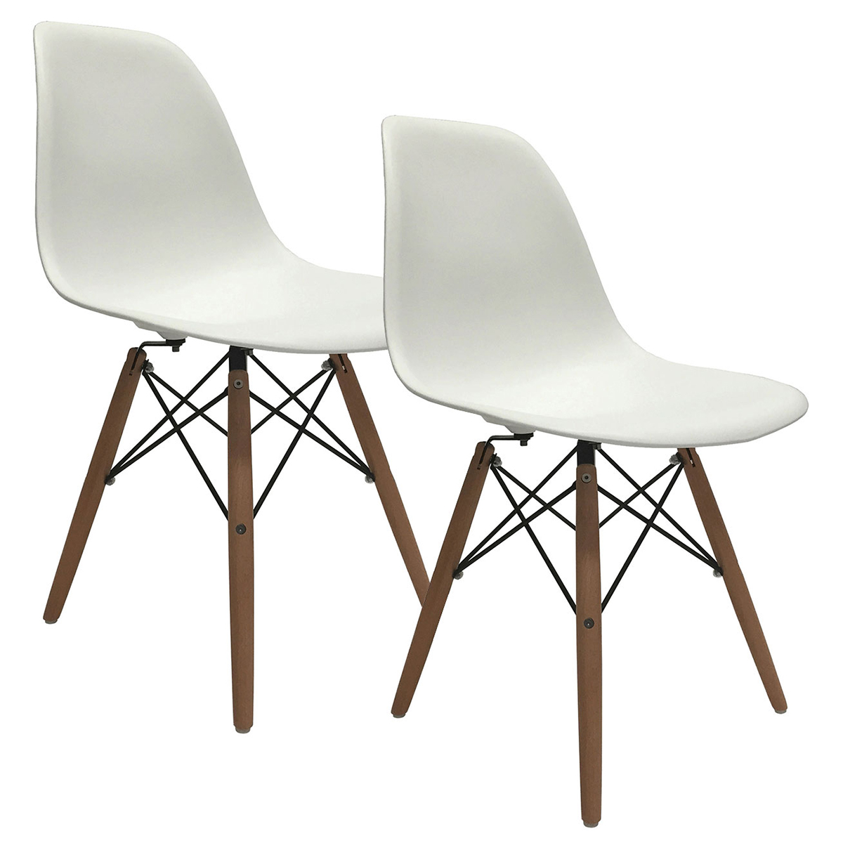 set of 2 eiffel molded plastic side dining chairs eames dsw replica