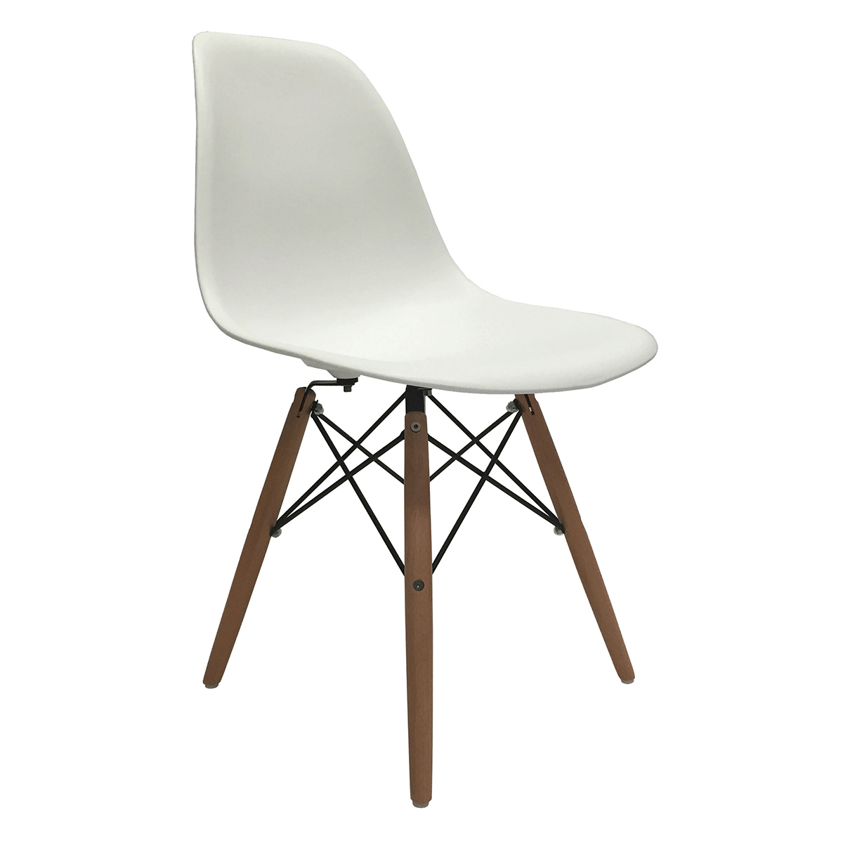 of 2 eiffel molded plastic side dining chairs eames dsw replica white