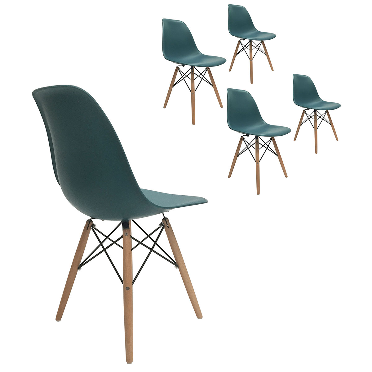 Set Of 4 Eiffel Molded Plastic Side Dining Chairs Eames Dsw Replica Turquoise