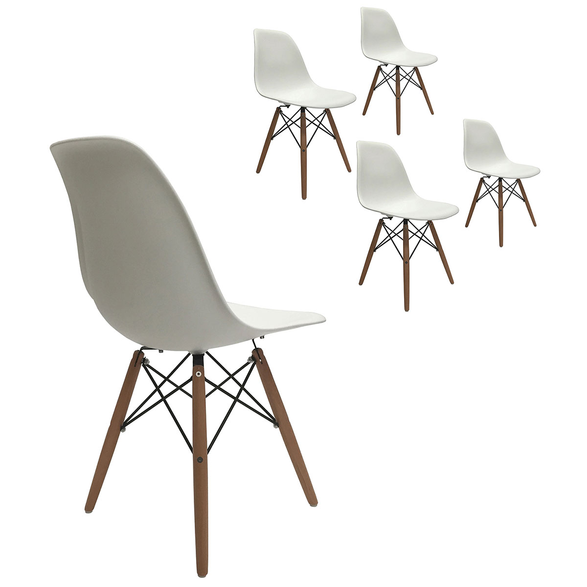 of 4 eiffel molded plastic side dining chairs eames dsw replica white