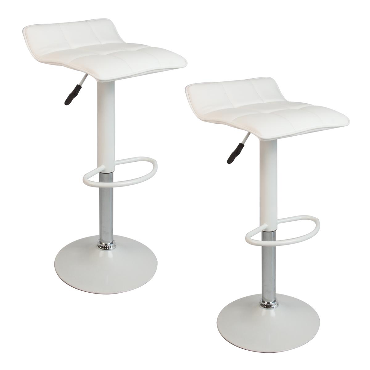 White Set Of 2 Bar Stools Leather Hydraulic Swivel  : 41440ad from www.ebay.com size 1200 x 1200 jpeg 169kB