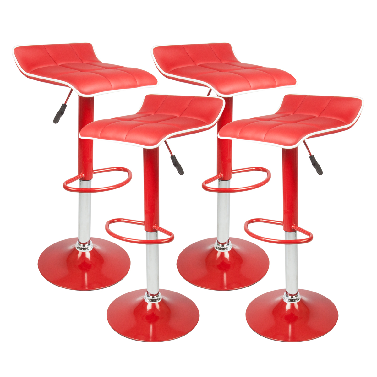 RED SET OF 4 BAR Stools Leather Hydraulic Swivel Dinning  : 41444ad from ebay.com.au size 1200 x 1200 jpeg 422kB