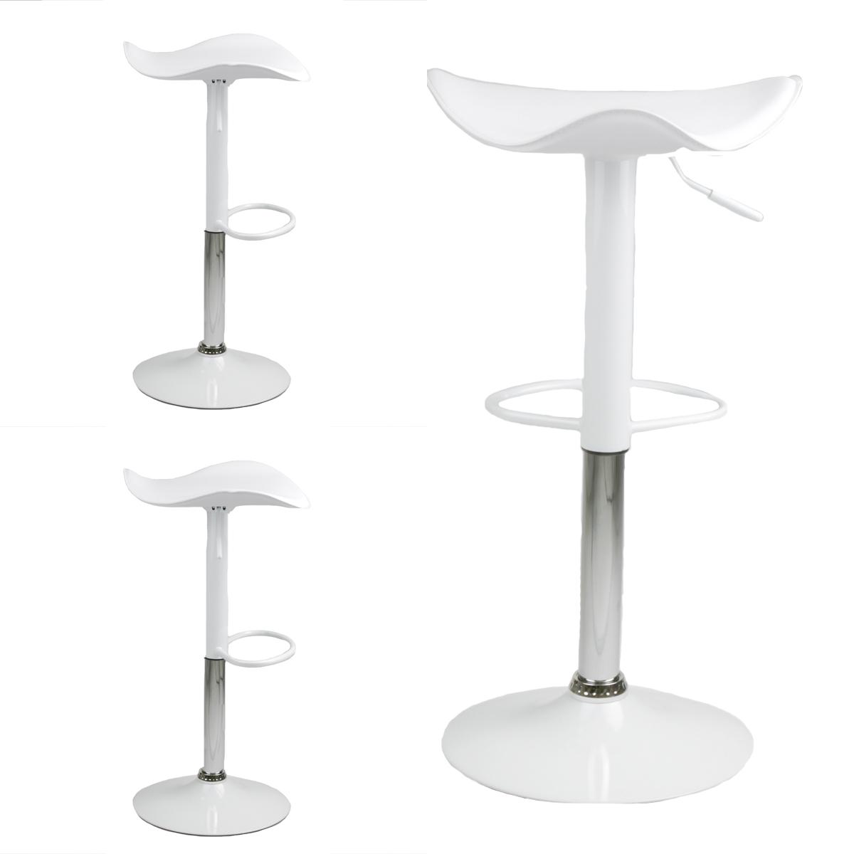 Set Of 2 New Swivel Bar Stool White Modern Saddle Chair