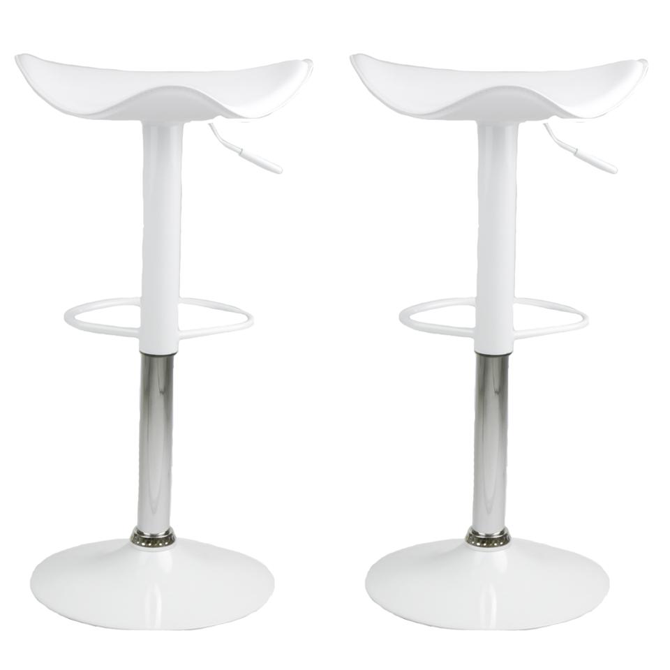 2 modern swivel bar stool white saddle chair pub barstools