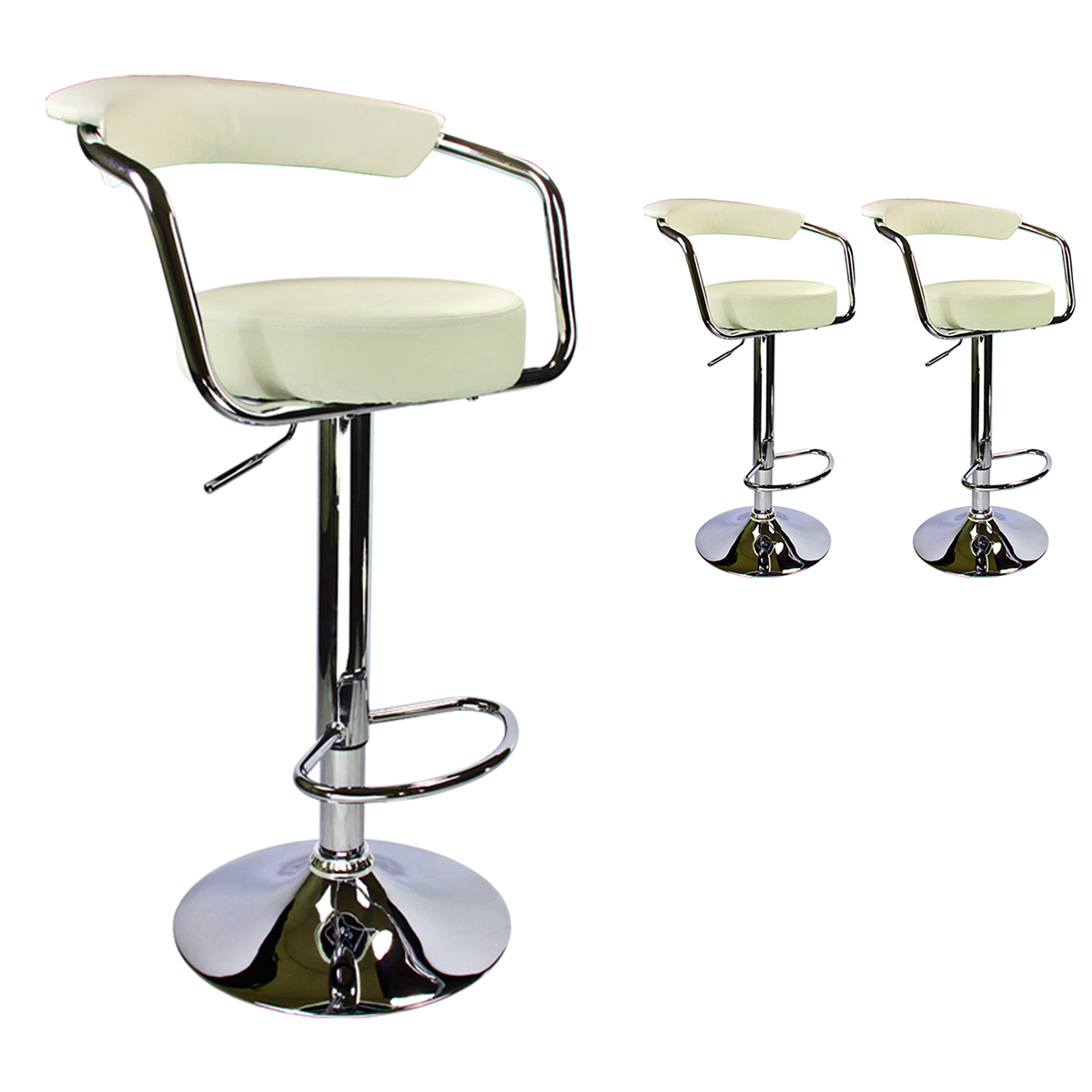 Set Of 2 Bar Stools Modern Hydraulic Swivel Dining Chair