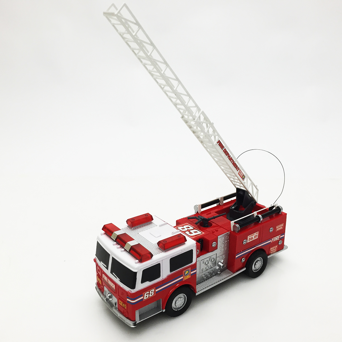 Toy FireTruck RC Remote Control Radio Red Paint Crane Full ...