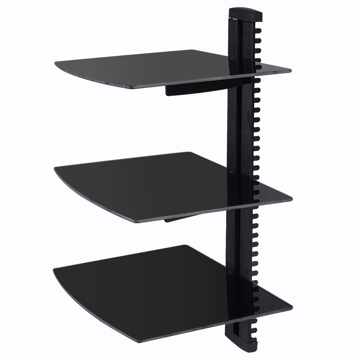 3 tier dual glass shelf wall mount bracket under tv. Black Bedroom Furniture Sets. Home Design Ideas