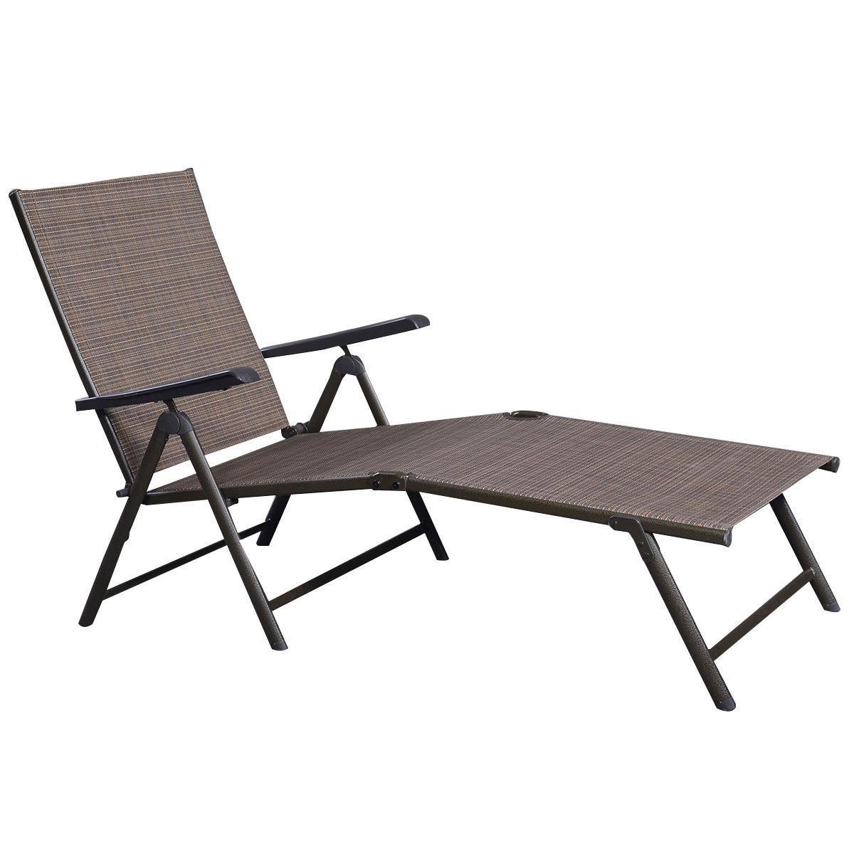 Patio furniture textilene adjustable pool chaise lounge for Daybed bench chaise