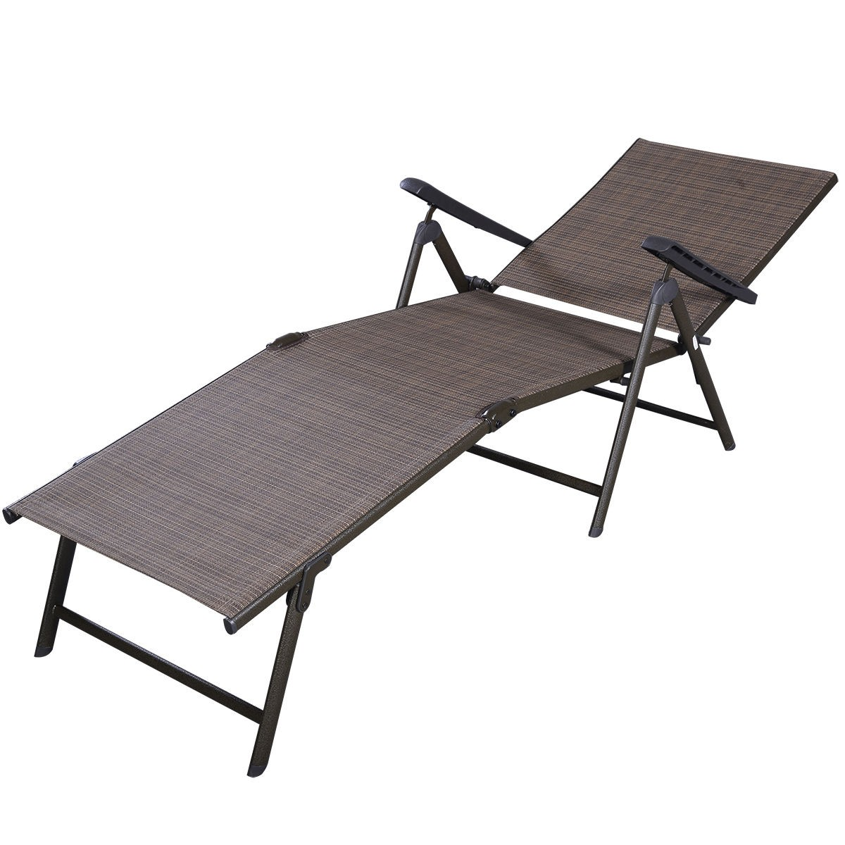 Patio furniture textilene adjustable pool chaise lounge for Outdoor lounge furniture